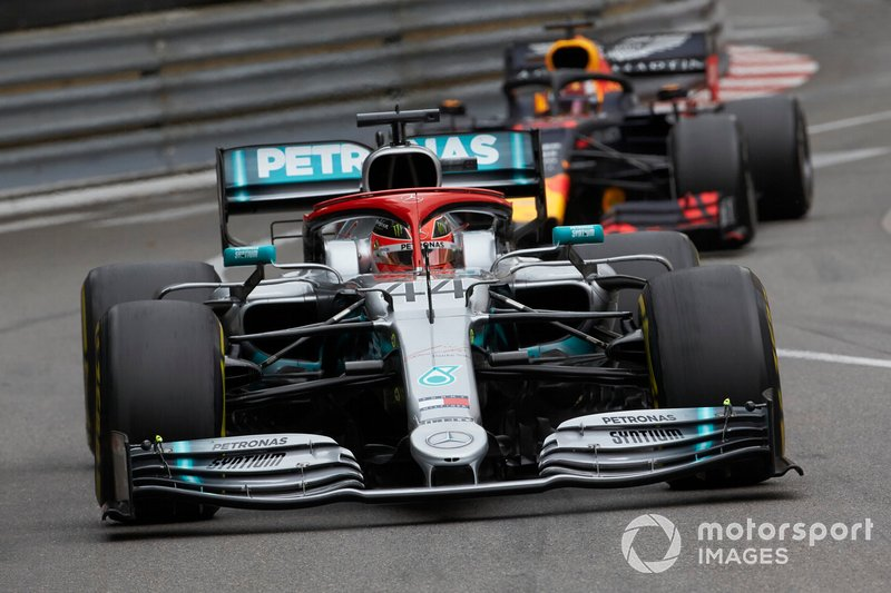 Lewis Hamilton, Mercedes AMG F1 W10, leads Max Verstappen, Red Bull Racing RB15