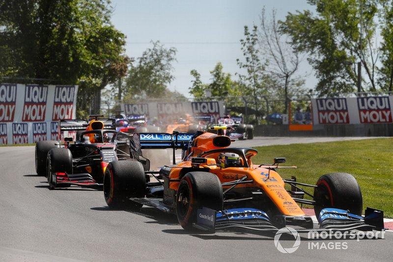 Lando Norris, McLaren MCL34, Max Verstappen, Red Bull Racing RB15