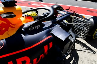 Max Verstappen, Red Bull Racing RB15, leaves the garage with sensors attached