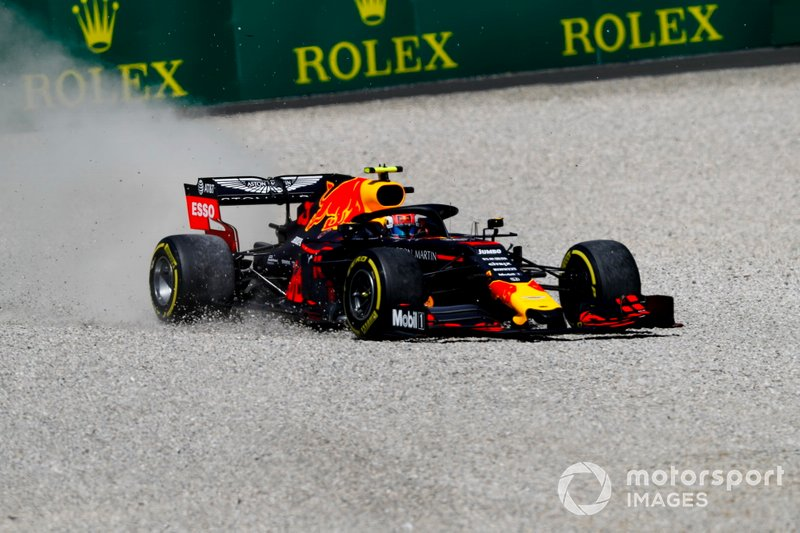 Pierre Gasly, Red Bull Racing RB15, heads through a gravel trap