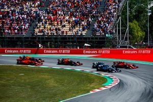 Lewis Hamilton, Mercedes AMG F1 W10, Valtteri Bottas, Mercedes AMG W10, Sebastian Vettel, Ferrari SF90, Max Verstappen, Red Bull Racing RB15, Charles Leclerc, Ferrari SF90, en Pierre Gasly, Red Bull Racing RB15