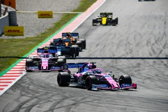 Sergio Perez, Racing Point RP19, leads Lance Stroll, Racing Point RP19, Antonio Giovinazzi, Alfa Romeo Racing C38, Lando Norris, McLaren MCL34, and Nico Hulkenberg, Renault R.S. 19