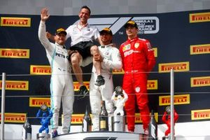 Valtteri Bottas, Mercedes AMG F1, Mercedes construstors representative, Winner Lewis Hamilton, Mercedes AMG F1 and Charles Leclerc, Ferrari celebrate on the podium