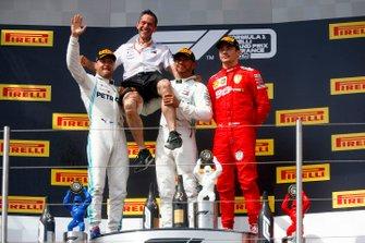 Valtteri Bottas, Mercedes AMG F1, Mercedes construstors representative, Winner Lewis Hamilton, Mercedes AMG F1 and Charles Leclerc, Ferrari celebrate on the podium