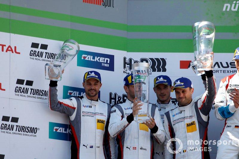 Podium: second place #911 Manthey-Racing Porsche 911 GT3 R: Earl Bamber, Michael Christensen, Kevin Estre, Laurens Vanthoor