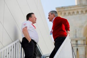 Zak Brown, Executive Director, McLaren, talks with Carlos Sainz Snr