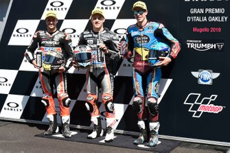 Pole sitter Marcel Schrotter, Intact GP, second place Thomas Luthi, Intact GP, third place Alex Marquez, Marc VDS Racing
