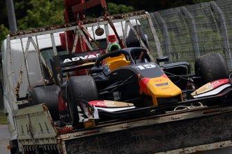 The crashed car of Dan Ticktum, Mugen