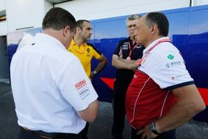 Zak Brown, Executive Director, McLaren, Cyril Abiteboul, Managing Director, Renault F1 Team, Otmar Szafnauer, Team Principal and CEO, Racing Point, and Frederic Vasseur, Team Principal, Alfa Romeo Racing