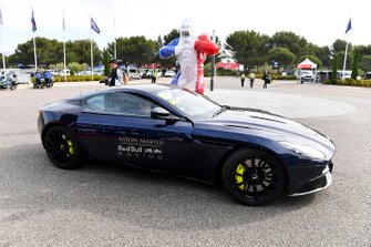 Max Verstappen, Red Bull Racing arrives in a Aston Martin Car