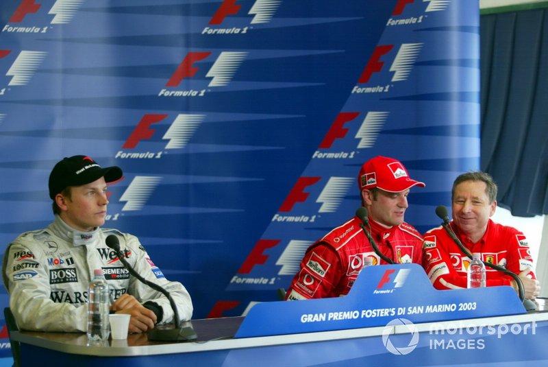 Kimi Raikkonen, McLaren, Rubens Barrichello, Ferrari, Jean Todt, director del equipo, en reemplazo de Michael Schumacher.