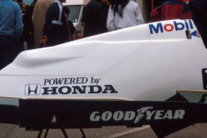 The engine cover of the Williams FW09B, powered by Honda turbo-charged engines