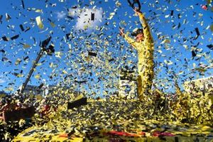 Joey Logano, Team Penske, Ford Mustang Pennzoil, celebrates victory lane after winning the Pennzoil 400.