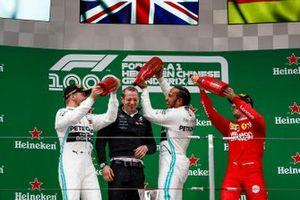 Podium: race Winner Lewis Hamilton, Mercedes AMG F1, second place Valtteri Bottas, Mercedes AMG F1 and third place Sebastian Vettel, Ferrari celebrate