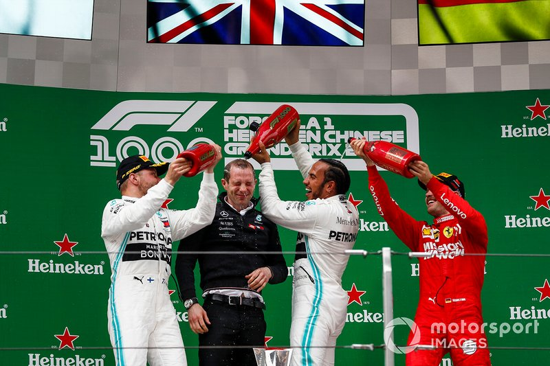 Hamilton, Bottas y Vettel en el podio de China