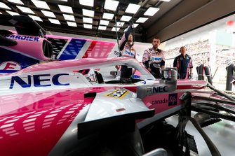 Sergio Perez, Racing Point RP19, prepares to head to the grid
