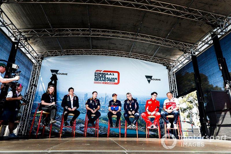 Toto Wolff, Executive Director (Business), Mercedes AMG, Christian Horner, Team Principal, Red Bull Racing, Franz Tost, Team Principal, Toro Rosso, Otmar Szafnauer, Team Principal, Racing Point, Mattia Binotto, Team Principal Ferrari and Frederic Vasseur, Team Principal, Alfa Romeo Racing on stage