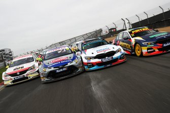 Jason Plato, Power Maxed Racing Vauxhall, Tom Ingram, Speedworks Motorsport Toyota Corolla, Colin Turkington, WSR BMW and Andrew Jordan, WSR BMW