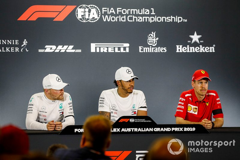 Valtteri Bottas, Mercedes AMG F1, Lewis Hamilton, Mercedes AMG F1 and Sebastian Vettel, Ferrari in Press Conference