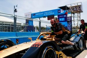Car of Andre Lotterer, DS TECHEETAH, DS E-Tense FE19, being pushed into Parc Ferme