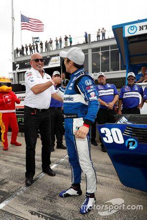 Pole Sitter Takuma Sato, Rahal Letterman Lanigan Racing Honda with team owner