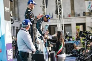 Mitch Evans, Panasonic Jaguar Racing, 1st position, receives his trophy from the Mayor of Rome on the podium