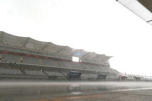 Regen op het Circuit of the Americas