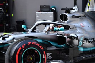 Lewis Hamilton, Mercedes AMG F1 W10, leaves the garage