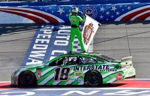 Kyle Busch, Joe Gibbs Racing, Toyota Camry Interstate Batteries celebrates his win