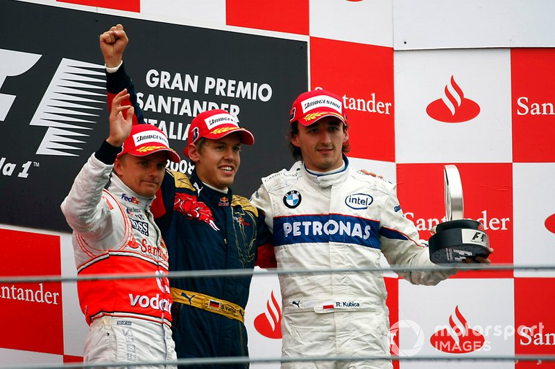 2 Italy 2008: Sebastian Vettel, Heikki Kovalainen, Robert Kubica