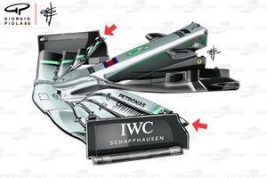 Mercedes W10 front wing, Chinese GP
