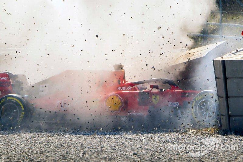 Sebastian Vettel, Ferrari SF90, Unfall in Barcelona 2019