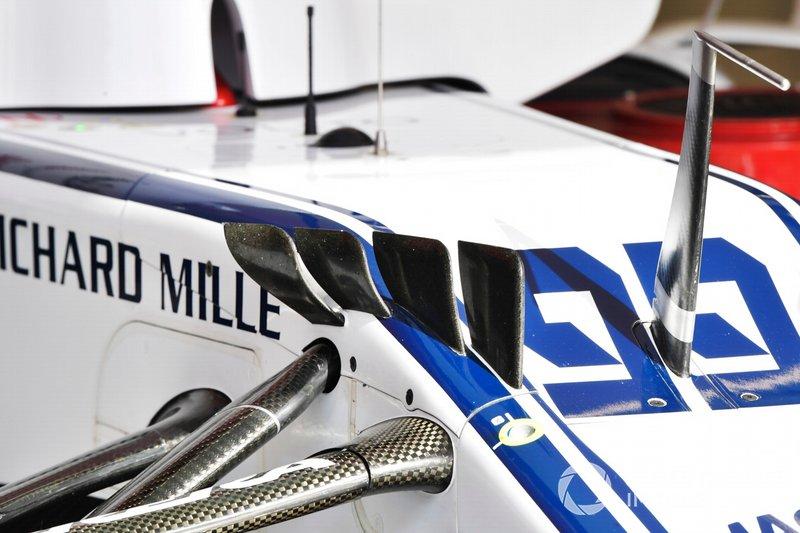 Dettaglio dei flap sulla monoposto di Antonio Giovinazzi, Alfa Romeo Racing C38