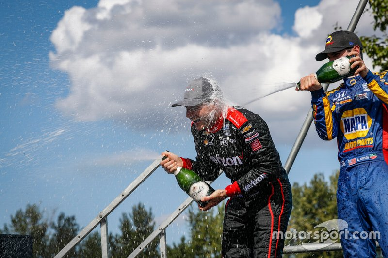 Will Power, Team Penske Chevrolet, Alexander Rossi, Andretti Autosport Honda celebrate on the podium