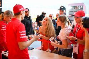 Sebastian Vettel, Ferrari, meets fans
