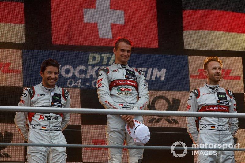 Podium: Le vainqueur Nico Müller, Audi Sport Team Abt Sportsline, le deuxième Mike Rockenfeller, Audi Sport Team Phoenix, le troisième René Rast, Audi Sport Team Rosberg