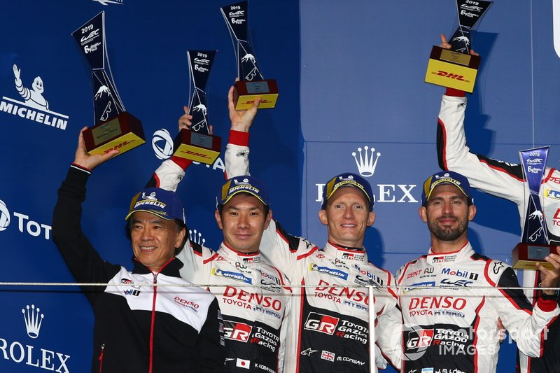 Podium: #7 Toyota Gazoo Racing Toyota TS050 - Hybrid: Mike Conway, Kamui Kobayashi, Jose Maria Lopez
