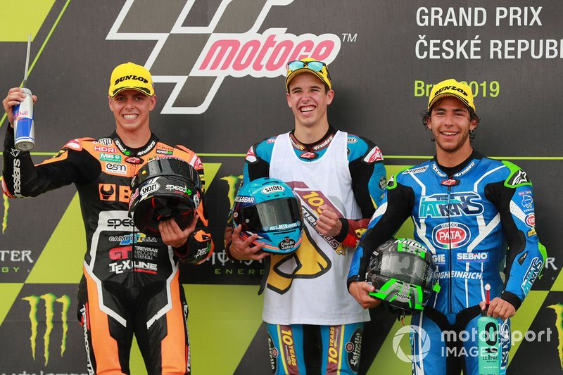 Podio: 1º Alex Márquez, 2º Fabio Di Giannantonio, 3º Enea Bastianini