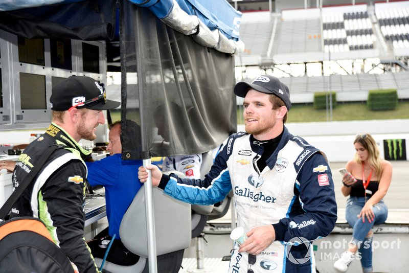 Charlie Kimball, Carlin Chevrolet chats with Conor Daly, Carlin Chevrolet after the rain shortened event