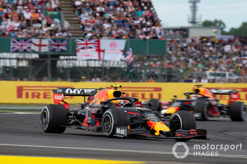 Pierre Gasly, Red Bull Racing RB15, leads Max Verstappen, Red Bull Racing RB15