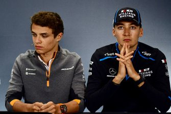 Lando Norris, McLaren y George Russell, Williams Racing en rueda de prensa