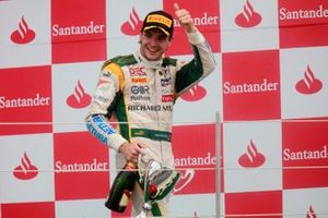 Jules Bianchi, Lotus ART celebrates his victory on the podium