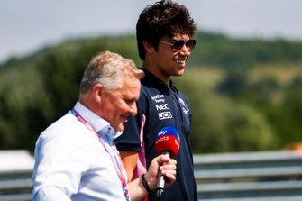 Lance Stroll, Racing Point walks the track with Johnny Herbert, Sky TV