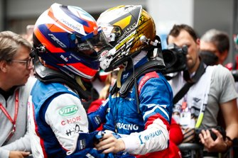 Champion Robert Shwartzman, PREMA Racing, celebrates in parc ferme with Niko Kari, Trident