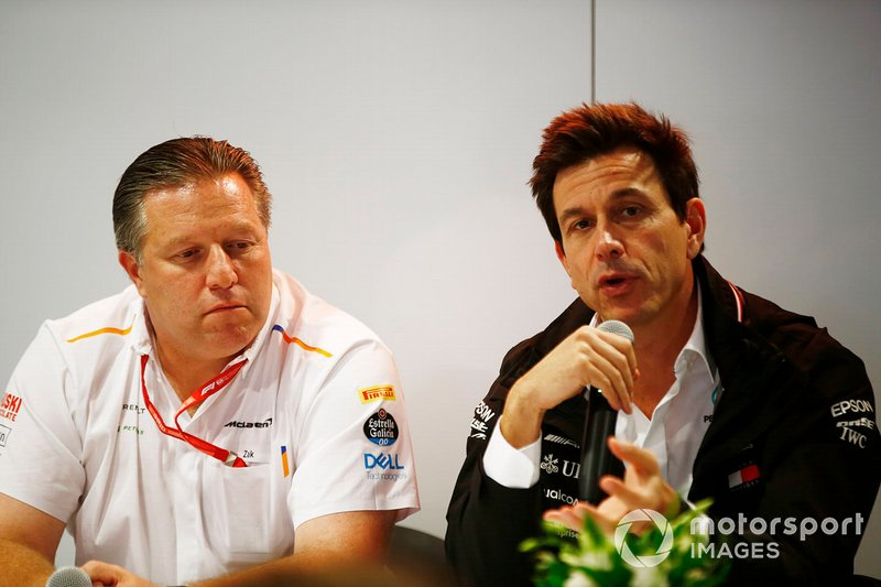 Zak Brown, Executive Director, McLaren, and Toto Wolff, Executive Director (Business), Mercedes AMG