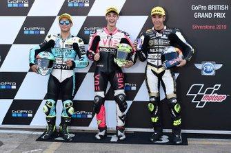 Le poleman Tony Arbolino, Team O, le deuxième, Lorenzo Dalla Porta, Leopard Racing, le troisième, Raul Fernandez, Angel Nieto Team