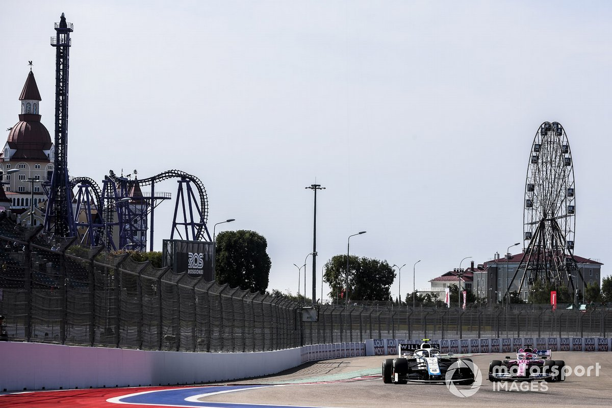 Nicholas Latifi, Williams FW43, Sergio Perez, Racing Point RP20