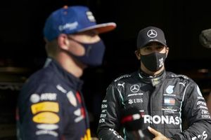 Max Verstappen, Red Bull Racing, and pole man Lewis Hamilton, Mercedes-AMG F1, in Parc Ferme after Qualifyiing
