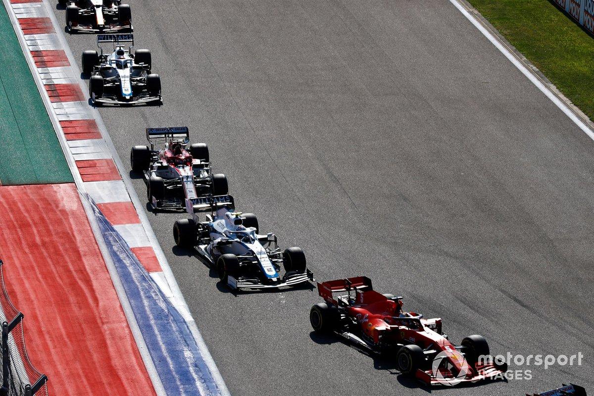 Sebastian Vettel, Ferrari SF1000, Nicholas Latifi, Williams FW43, Kimi Raikkonen, Alfa Romeo Racing C39, George Russell, Williams FW43, Alex Albon, Red Bull Racing RB16