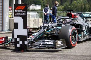 Lewis Hamilton, Mercedes F1 W11, arrives in Parc Ferme after securing pole position